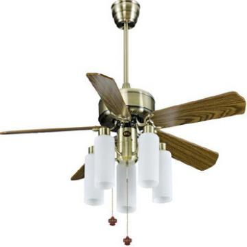 52 inch modern design economy timber blade ceiling fan with light pull cord control