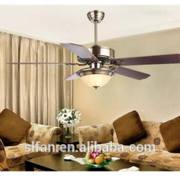 "52"" antique brass ceiling fan with single led light kit and 5pieces reversible wood blade remote control"