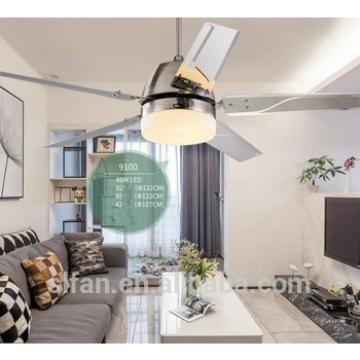 "52"" ceiling fan white/silver iron blades and glass light kits for dining room modern style fancy fan"