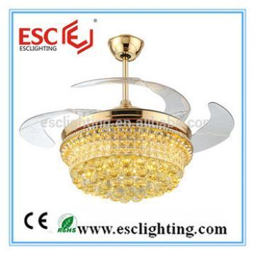 Luxurious K9 Crystal ceiling fan lamp ceiling fan with hidden blades ceiling fan for dining