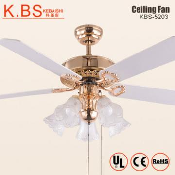 Best Selling Decorative Glass Lampshade Sitting Room 110V No Nosie Ceiling Fan Light
