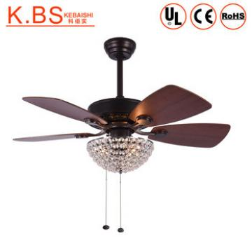 Decorative 36 inch Rope Control Crystal Ceiling Fans With Light