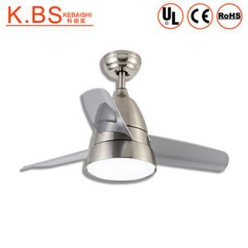 Modern Design Loft Style Chrome Metal Plastic Industrial Ceiling Fan With LED Light