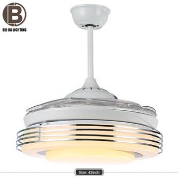 Crystal remote control decorative modern ac retractable LED ceiling fan