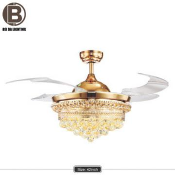 LED crystal ceiling fan lamp invisible modern dining room fan crystal chandelier lamp