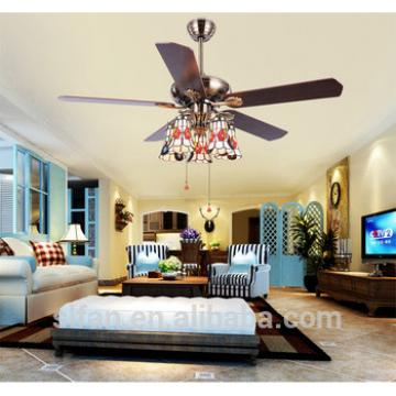 52 inch classical arts ceiling fan e27 light with 5 pieces wood blades reversible by rope control AC pure copper motor