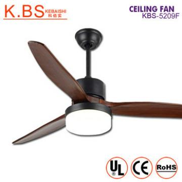 Modern Simple Design Decorative Wooden Blade Matte Black Ceiling Fan With Light