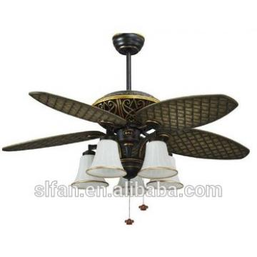 45 inch black gold middle east style ceiling fan light with 5 pieces reversible ABS blades and pull chain control