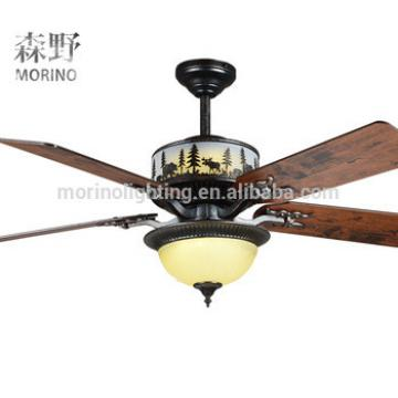 American Country style rechargeable electric led ceiling fan lamp