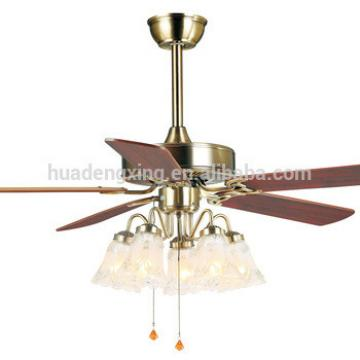 """48"""" decorative ceiling fan with wood blades and 5 E27 LED light bulbs"""