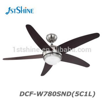 52 Inch 5 MDF Blade 1 LED Light Remote Control Wood Ceiling Fan