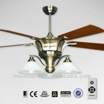 """2013 New Design 56"""" Antique Brass Ceiling Fan with 3 Lights Wooden Blade"""