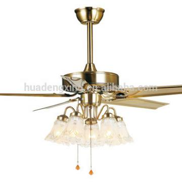"""48"""" decorative ceiling fan with with 5 LED light bulbs and wood blades"""
