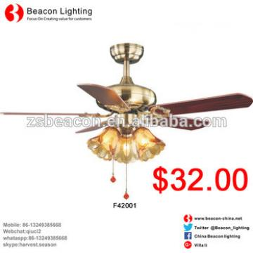 "good quality low price 42"" Revue Brushed wooden fans blade glass shade e27 Ceiling Fan lamp Wholesale Factory price"