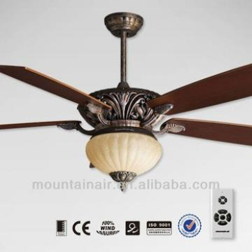 Metal Housing wood blade Ceiling Fan With Light