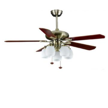 52 inch bronze finish ceiling fan light with 5 pieces wood blade by pull cord control