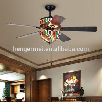 Hand Pull Chain Classical Vintage Rustic Matte Black 120V,220V Super Fancy Tiffany Style Ceiling Fan