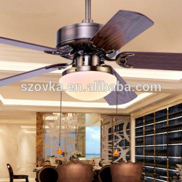 European simple retro bronze dining room remote control ceiling fan with LED lights