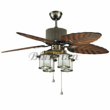 48 inch Remote control decorative ceiling fan with e27*4 lights 5 Natural wood blade 188*12 moter 48-1402