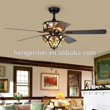 Creative Original Designer Electric Tiffany Style Matte Black Ac Ceiling Fan Chandelier Combo Light