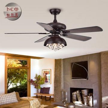 Remote Control Decorative Black Ceiling Fans Crystal Chandelier Modern Ceiling Fan