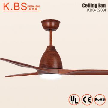 220 Volt Dc Motor 24W Modern Walnut Wood 3 Blade Ceiling Fan With Led Light