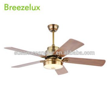 Hot sale 220v 70W indoor 52 inch wood blades vintage led light ceiling fan
