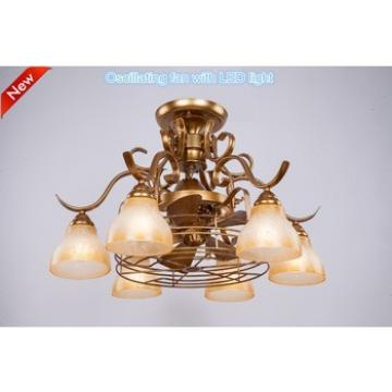 Retro Decorative Glass Ceiling Lamp Creative Hanging Pendant Light with Fan