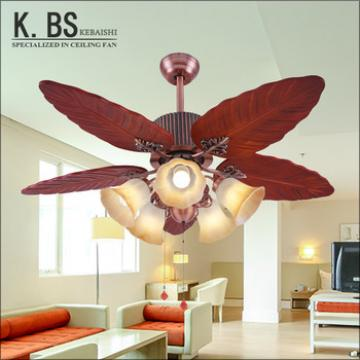 5 wooden blades indoor decorative ceiling fan light remote control retractable wooden ceiling fan lamp
