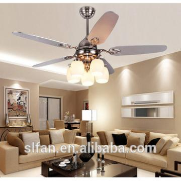 52 inch brush nickel finish ceiling fan light with 5pieces reversible wood blade remote control