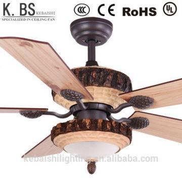 Retro Style Hotel Pine Wood Pendant Light Chandelier Decorative Ceiling Fan Light Bulbs