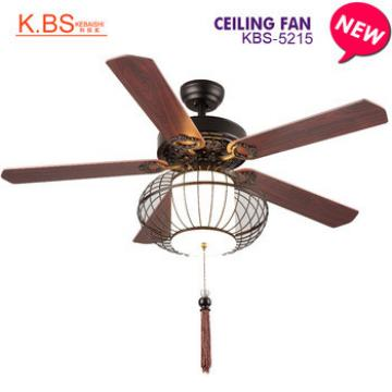 Best Brand Iron Art Lampshade Indoor Decorative Fan Wood Ceiling Fan With Light