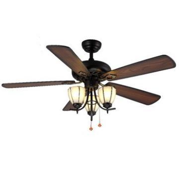 loft European ancient style five wooden blades ceiling decorative fan