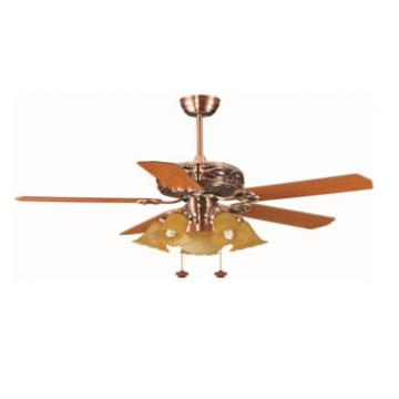 classis design decorative ceiling fan with light and used AC/DC 12 V motor wall control