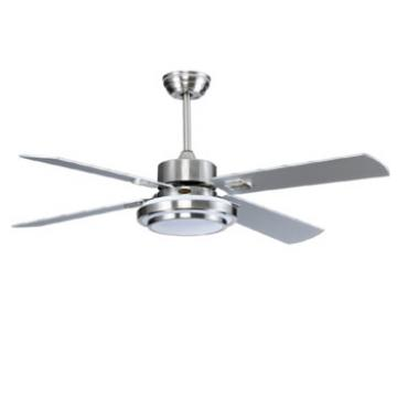 52'' wood blade ceiling fan with LED light kits with remote control AC DC motor