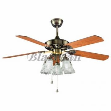 52 inch Remote control decorative ceiling fan with e27*5 lights 5 plywood blade 188*12 moter 52-1506