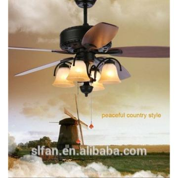 52 inch American style low profile high efficient decorative ceiling fan with light five wood blades fans