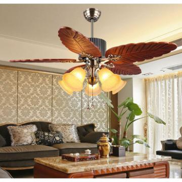 48 inch wood blade indoor ceiling fan with light pull cord control American style