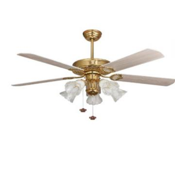 52 inch rose golden ceiling fan light with 5 pieces wood blade by pull cord control
