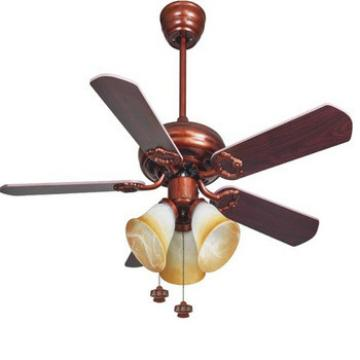 "42"" wood blade ceiling fan with light kits by pull cord control from Zhongshan"