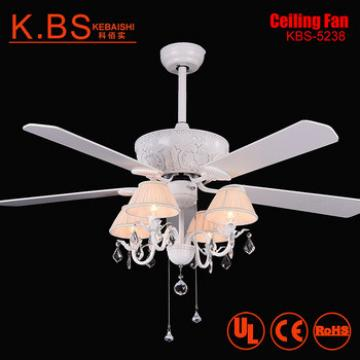 Fancy Crystal Pendant White Blade Suspension Lighting Ceiling Fan With Light