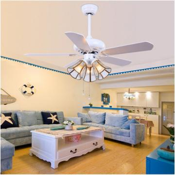 """52"""" white finish ceiling fan with five pieces reversible wood blade pull rope control"""