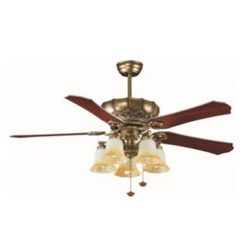52 inch flush mount european style wood blade ceiling fan with lights and pull chain control