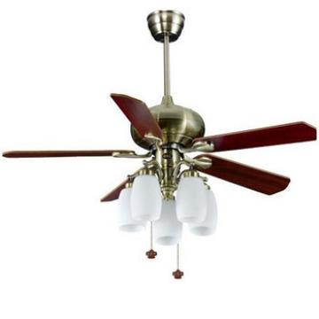 52 inch ceiling fan light in brushed nickel finish with 5 pieces reversible wood blades,suitable for European markets