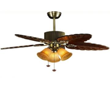 52 inch save energy design ceiling fan with light in bronze finish,5 wood blades by rope control