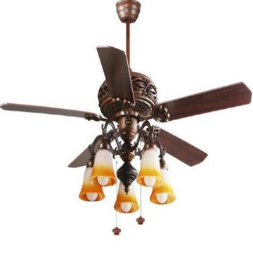 52 inch low profile ceiling fan with 5 pieces light kit and reversible wood blades from Zhongshan supplier