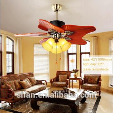 42 inch decorative ceiling fan light in bronze finish with 5 pieces resersible handmade wood blades