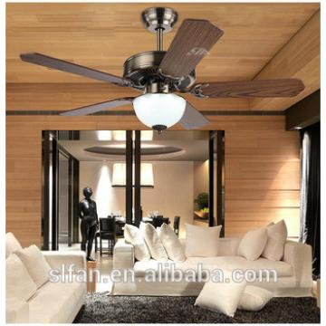 "42"" bronze finish ceiling fan with single led light kit and 5pieces reversible wood blade,pull cord control"