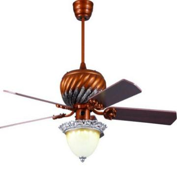 "52"" european style ceiling fan with 5 pieces wood blades and single led light kit UL approved"