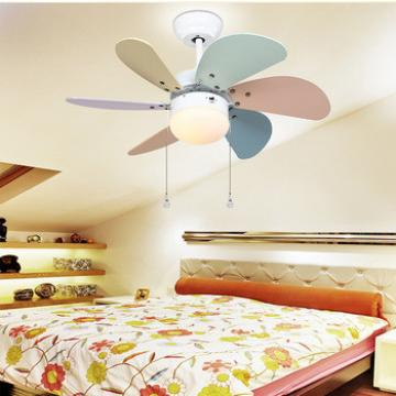 """32"""" ceiling fan wood blades colorful blades and glass light kits for kid's room"""